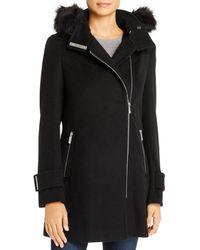 Calvin Klein Faux Fur Trim Wool - Blend Coat - Black