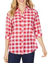 Foxcroft Dara Gingham High/low Shirt - Red