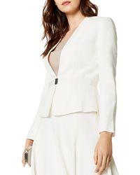 Karen Millen Plunge Peplum Blazer - White