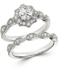 Bloomingdale's - Diamond Milgrain Engagement Ring In 14k White Gold - Lyst