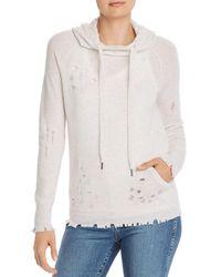 Aqua Cashmere Distressed Cashmere Hooded Sweater - Multicolor