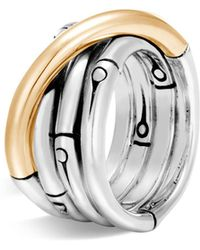 John Hardy | Brushed 18k Yellow Gold And Sterling Silver Bamboo Ring | Lyst