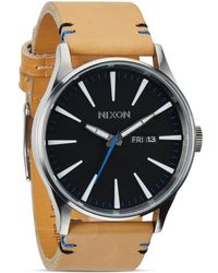 Nixon The Sentry Leather Strap Watch - Black