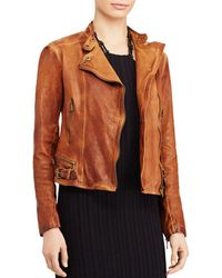 Ralph Lauren Lauren Burnished Leather Moto Jacket - Multicolor