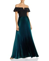 Aqua Off - The - Shoulder Pleated Gown - Black
