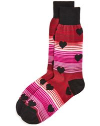 Bloomingdale's The Men's Store Bloomingdale's Stripe Hearts Socks - Pink