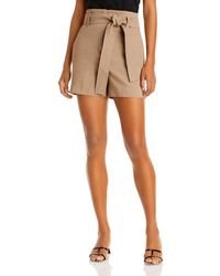 Theory Belted Linen Blend Shorts - Natural