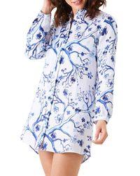 Vilebrequin Cherry Blossom Linen Shirt Dress Swim Cover - Up - Blue
