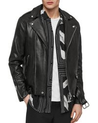 AllSaints - Manor Leather Biker Jacket - Lyst
