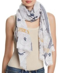 Fraas - Floral Scroll Oblong Scarf - Lyst