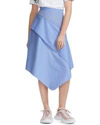 0768bbd781 Maje - Jim Striped Asymmetric Cotton Midi Skirt - Lyst