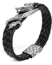 John Hardy | Men's Naga Sterling Silver Dragon Woven Black Leather Bracelet | Lyst