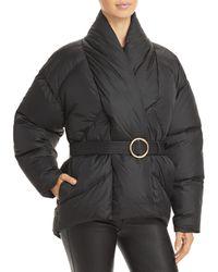 FRAME Belted Wrap Puffer Coat - Black