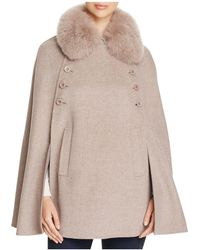 Maximilian - Fox Fur Collar Wool & Cashmere Cape - Lyst