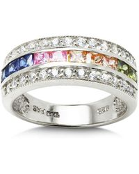 Aqua Multi Row Rainbow Ring In Sterling Silver - Metallic