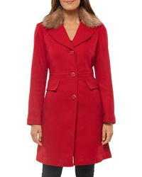 Kate Spade Faux Fur Collar Coat - Red