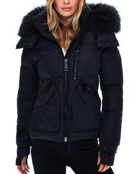 Sam. Jetset Fur - Trim Down Coat - Black