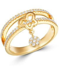 Bloomingdale's Diamond Butterfly Charm Ring In 14k Yellow Gold - Metallic