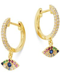 Meira T 14k Gold Rainbow Gemstone & Diamond Huggie Hoop Dangle Drop Earrings - Metallic