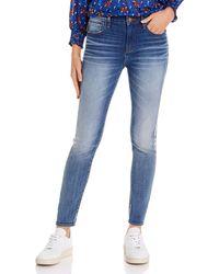 Aqua Metallic Track Stripe Skinny Jeans In Medium Wash - Blue