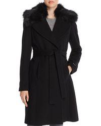 T Tahari Fiona Faux Fur Trim Wrap Coat - Black