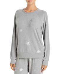 Pj Salvage Metallic Start Print Pyjama Top - Grey