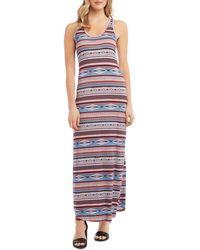 Karen Kane Western - Inspired Geo & Stripe Print Maxi Dress - Multicolour