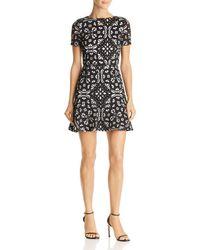 Aqua - Laser-cut Floral Flounce Dress - Lyst