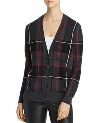 C By Bloomingdale's Plaid Cashmere Grandfather Cardigan - Black
