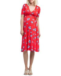Nom Maternity Maya Floral Print During & After Wrap Dress - Red