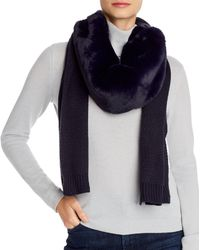 Echo Faux Fur Knit Scarf - Blue