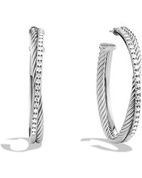 David Yurman - Crossover Extra Large Hoop Earrings With Diamonds - Lyst
