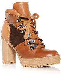See By Chloé Women's Aure High Block Heel Booties - Brown