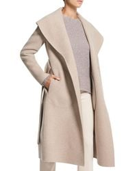 Theory Shawl Collar Wool & Cashmere Coat - Natural