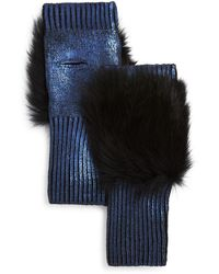 Jocelyn Fox Fur Trim Metallic Fingerless Gloves - Blue