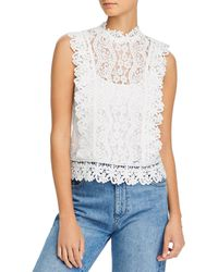 Aqua Sleeveless Lace Top - White