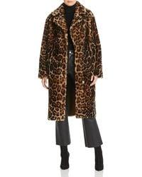 Maximilian Leopard Print Shearling Coat - Brown