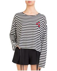 The Kooples - Rose-embroidered Striped Top - Lyst