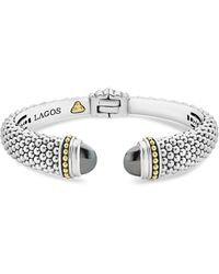 Lagos - 18k Gold And Sterling Silver Caviar Color Hematite Cuff Bracelet - Lyst