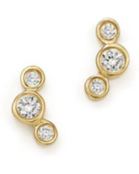 Zoe Chicco - 14k Yellow Gold Small Triple Graduated Diamond Curved Bezel Stud Earrings - Lyst