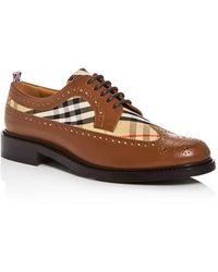 Burberry Men's Arndale Vintage Check Wingtip Oxfords - Brown