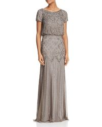 Adrianna Papell Beaded Short-sleeve Gown - Gray