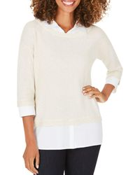 Foxcroft Miles Layered - Look Sweater - White