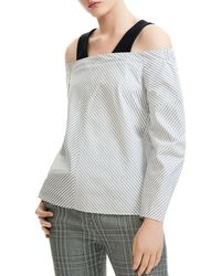 08b52015bb7780 Maje Mashup One-shoulder Knit Top in White - Lyst