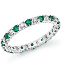 Bloomingdale's Diamond And Emerald Eternity Band In 14k White Gold - Multicolor
