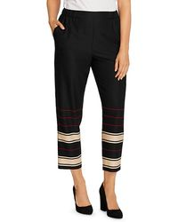 Vince Camuto Linear Planes Slim Ankle Trousers - Black