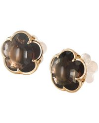 Pasquale Bruni - 18k Rose Gold Smoky Quartz Floral Stud Earrings - Lyst