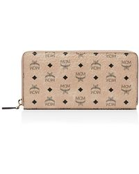 MCM Zip Around Large Leather And Canvas Wallet - Natural