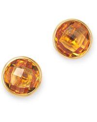 Bloomingdale's Bezel Set Citrine Stud Earrings In 14k Yellow Gold - Multicolour