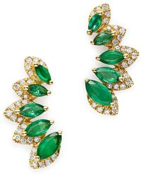 Bloomingdale's Emerald & Diamond Climber Earrings In 14k Yellow Gold - Multicolor